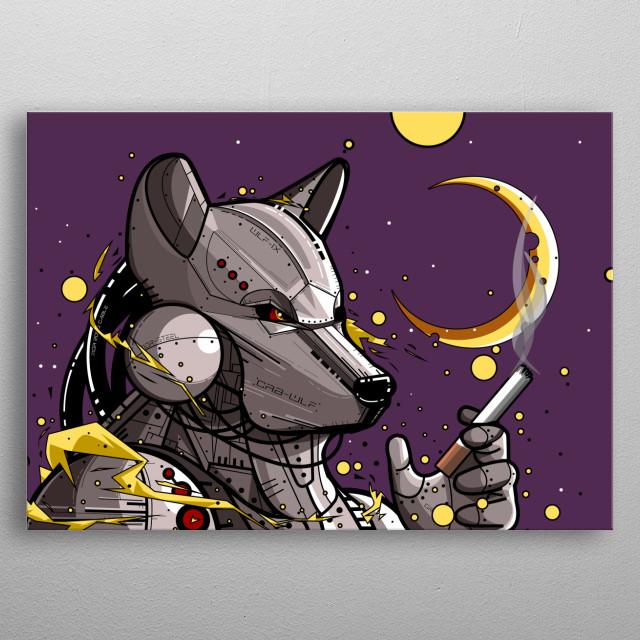 "illustration ""smokey cyborgwolf"" software : adobe photoshop cc 2015 metal poster"
