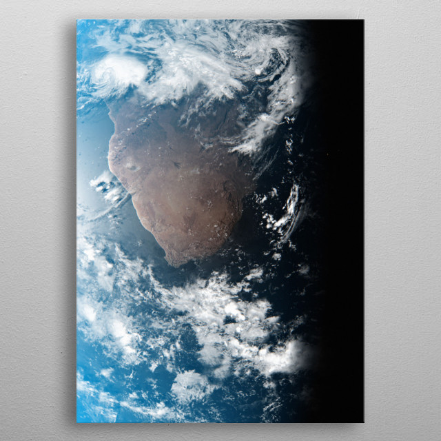 A cgi image of Earth from space, focusing on South Africa. metal poster