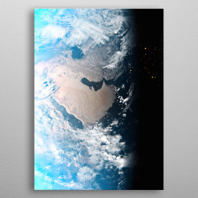 A cgi image of Earth from space, focusing on the Middle East. metal poster