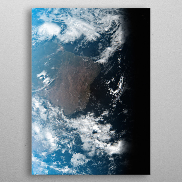 A cgi image of Earth from space, focusing on Brazil. metal poster