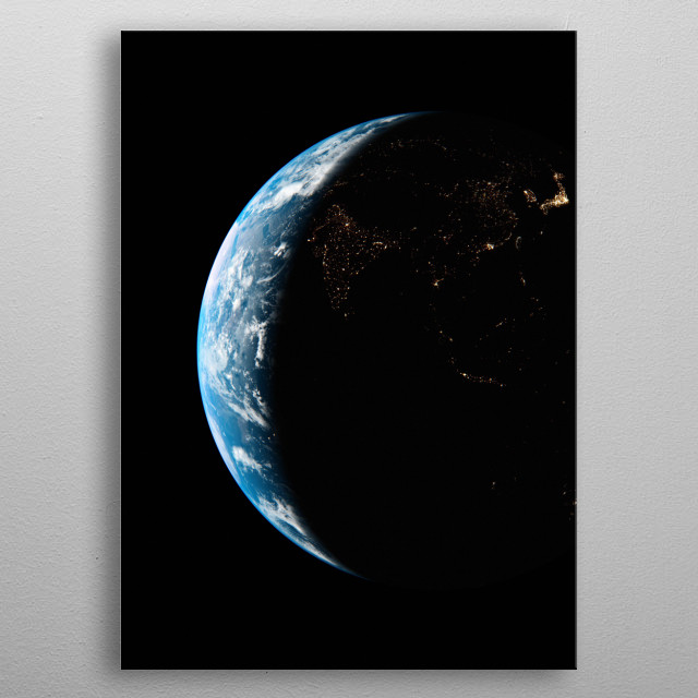 A cgi image of Earth from space, focusing on Asia at night. metal poster