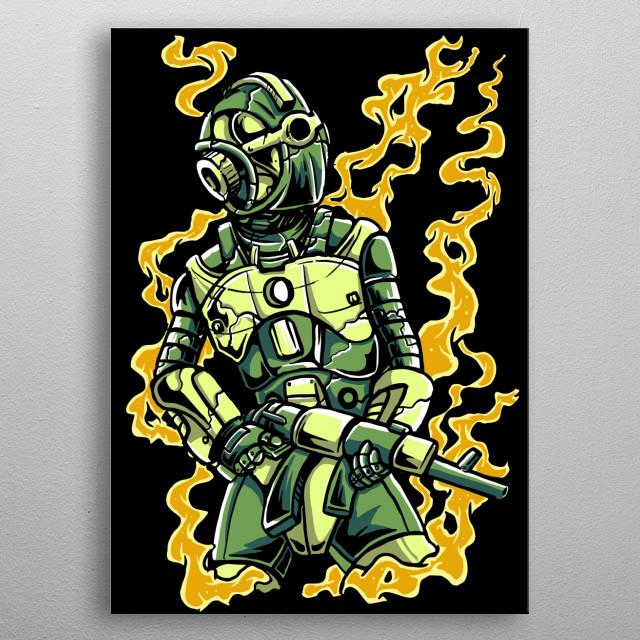Robot Soldier metal poster