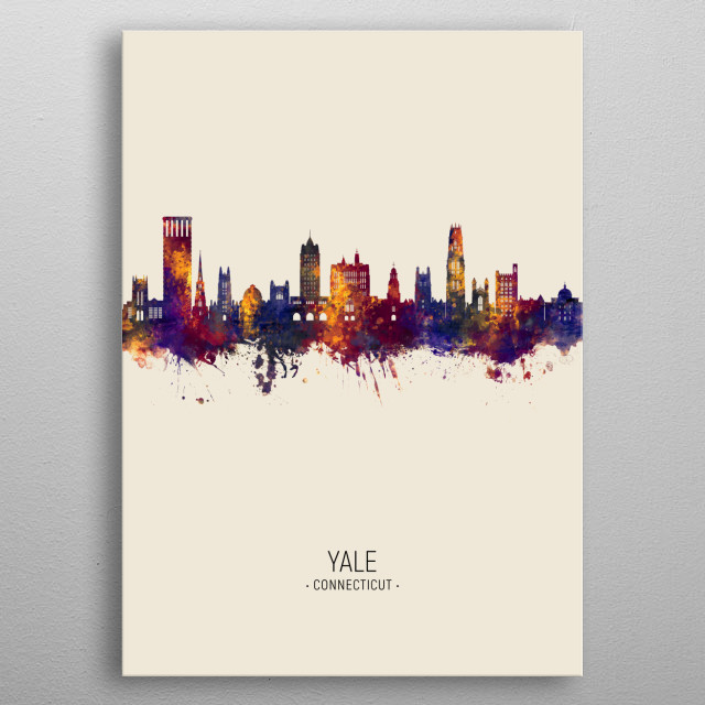 Watercolor art print of the skyline of Yale, New Haven, Connecticut York metal poster