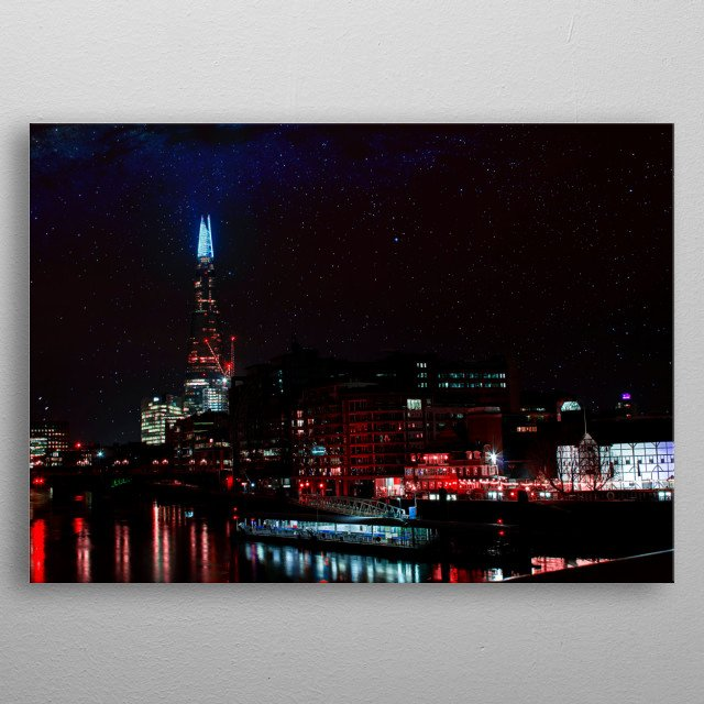 Long exposure shot of The Shard with a dreamscene starry night sky and a neon colour palette. metal poster