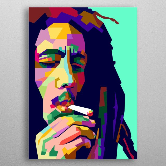 Bob Marley Colorful Design Illustration Style metal poster