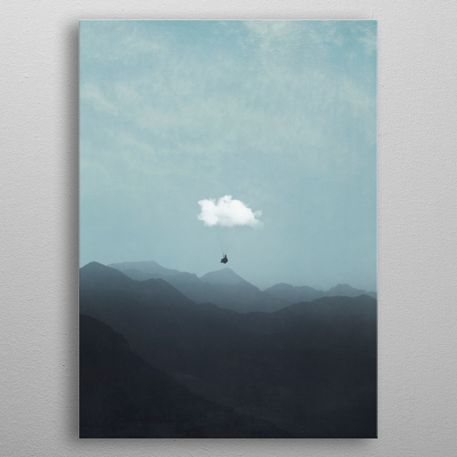 Paraglider hanging on a cloud flying above a mountain landscape on a misty morning - photomanipulation   metal poster