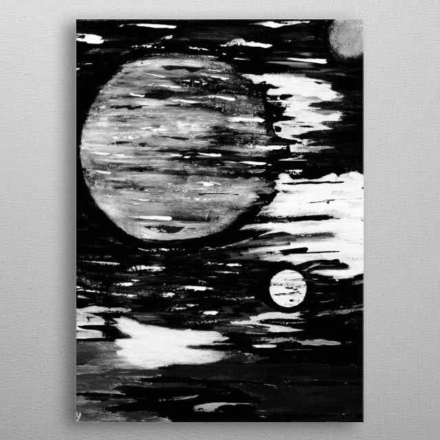 Abstract Black & White Painting metal poster