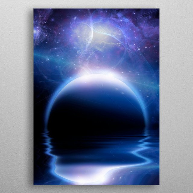 Dark planet rise over water surface metal poster