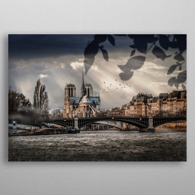 A tribute to the exquisite Notre Dame in Paris, the composition features the great cathedral framed by leaves and flying birds. metal poster