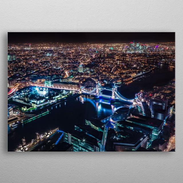 London Bridge Aerial by Night metal poster