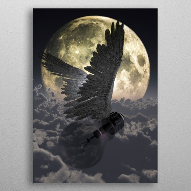 Flying idea. Winged light bulb in cloudy sky. Super moon at the horizon metal poster