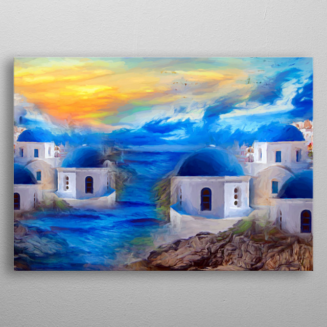 beautiful Santorini on the sea, behind a breathtaking sunset. The houses domes shine in a beautiful blue  metal poster