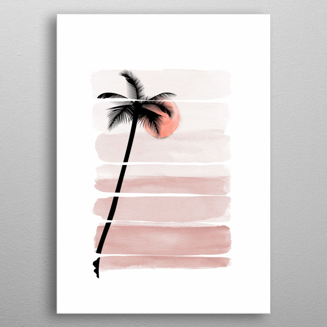 Tropical Pink Forest, strokers double exposure. metal poster