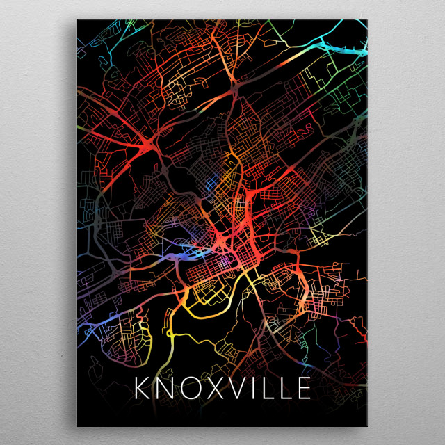 Knoxville Tennessee Watercolor City Street Map Dark Mode metal poster