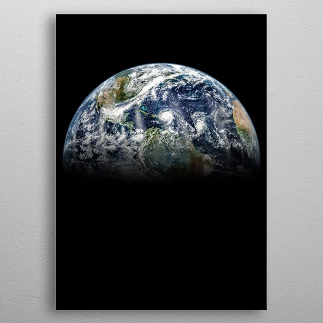 Earth is the third planet from the Sun and the only astronomical object known to harbor life. metal poster