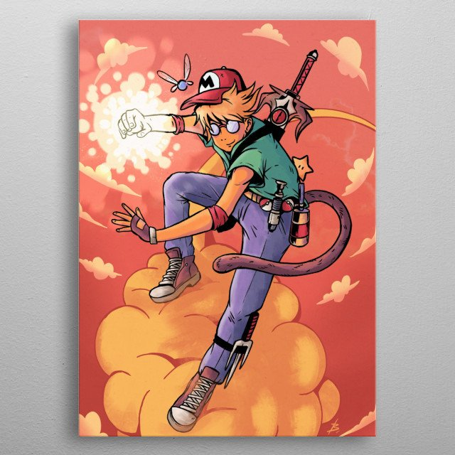 Illustration of a character inspired by several childhood figures, all merged into one. metal poster