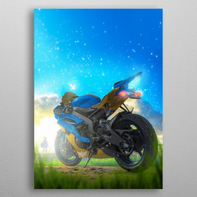 Yamaha R6 with a Zelda: Breath of the Wild inspired livery. metal poster