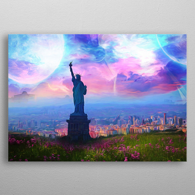 A city on the hill with flower meadow, which has a statue of liberty in front. Planets decorate the beautiful blue sky  metal poster