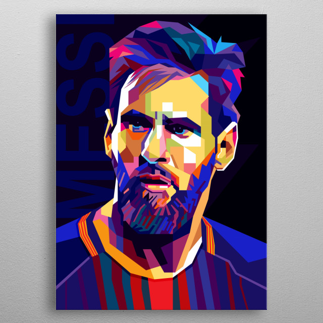 Illustration Colorful Lionel Messi with Pop Art Modern Style  metal poster