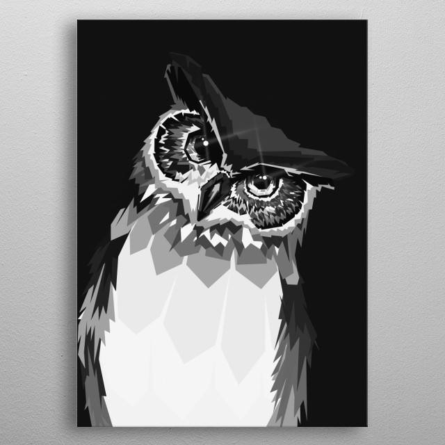 Owl in WPAP Grayscale Style metal poster