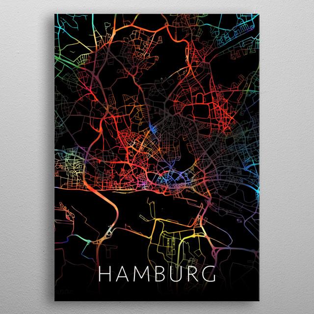 Hamburg Germany City Street Map Watercolor Dark Mode metal poster