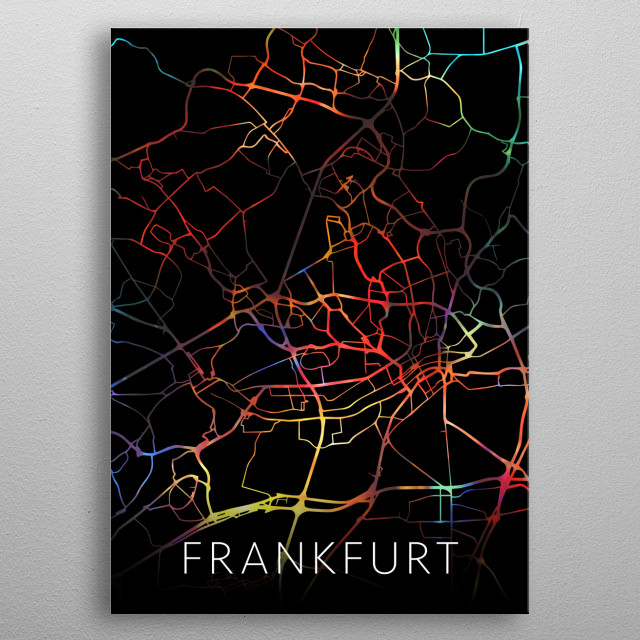 Frankfurt Germany City Street Map Watercolor Dark Mode metal poster