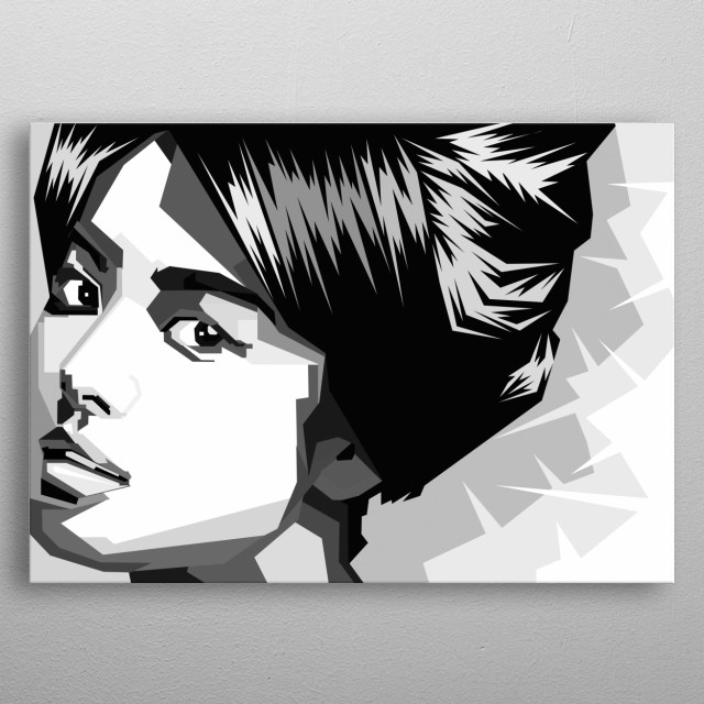 Japanese Female Grayscale art metal poster