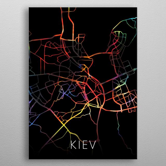 Kiev Ukraine Watercolor City Street Map Dark Mode metal poster