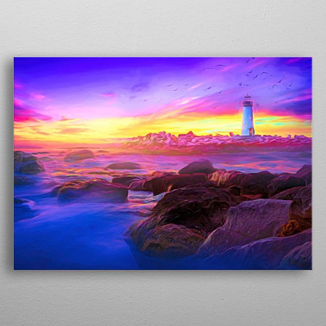 Sunset on the sea. the lighthouse lights up. a quiet atmosphere to chill out metal poster