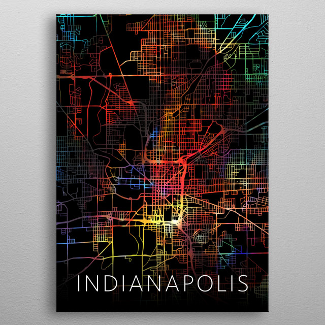Indianapolis Indiana City Street Map Watercolor Dark Mode metal poster