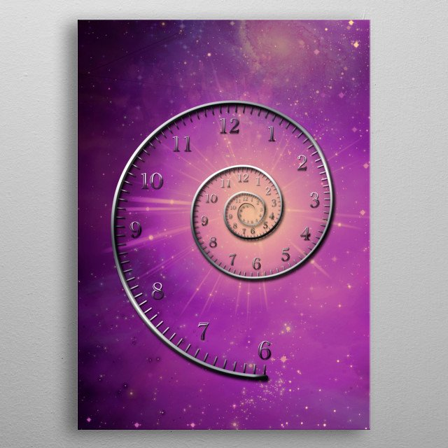 Spiral of time. Purple space metal poster