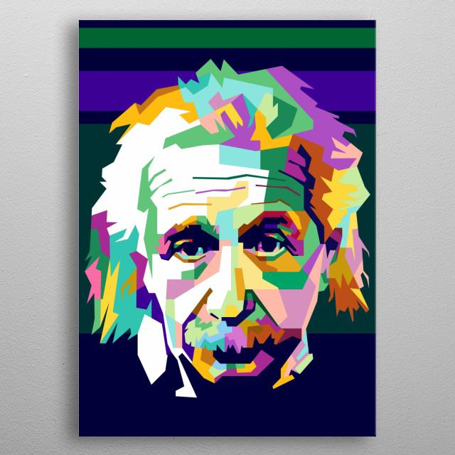Albert Einstein Design Illustration Colorful Style metal poster