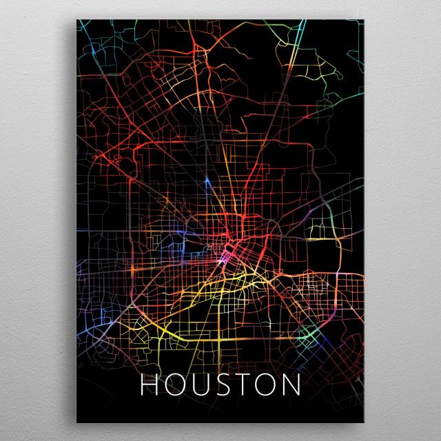 Houston Texas City Street Map Watercolor Dark Mode metal poster