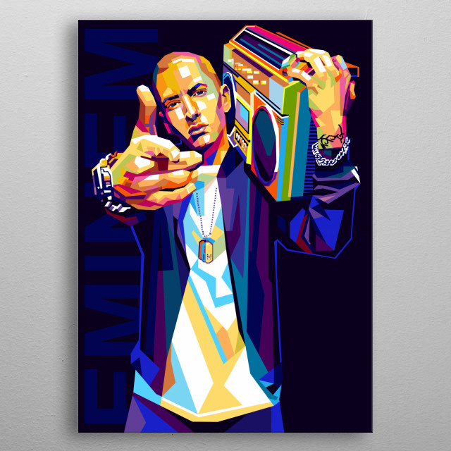 Illustration colorful Eminem with Pop Art Modern Style metal poster