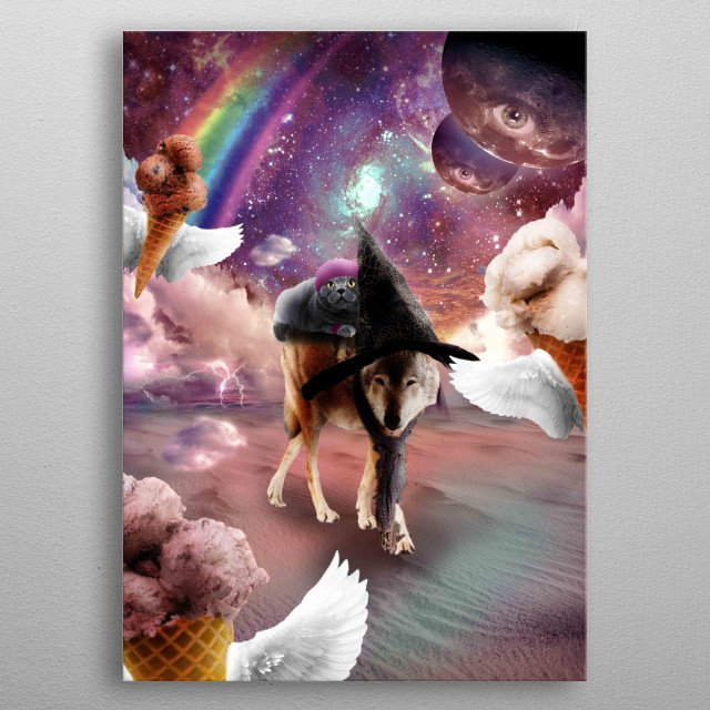 Pick up this epic funny outer space design. This funky design features a cool kitty cat riding on a witch wolf. metal poster