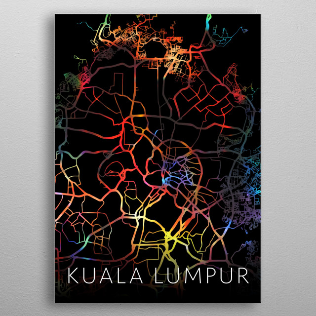 Kuala Lumpur Malaysia Watercolor City Street Map Dark Mode metal poster