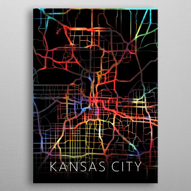 Kansas City Watercolor City Street Map Dark Mode metal poster