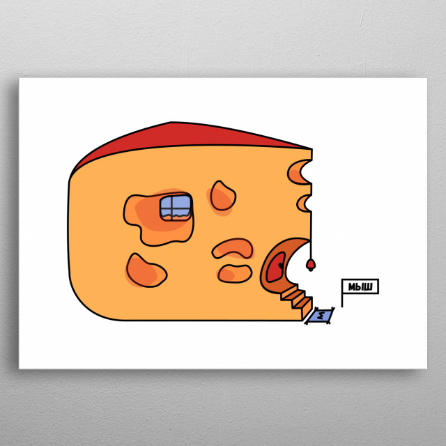 A mouse has found a dream house. It's made of cheese! metal poster