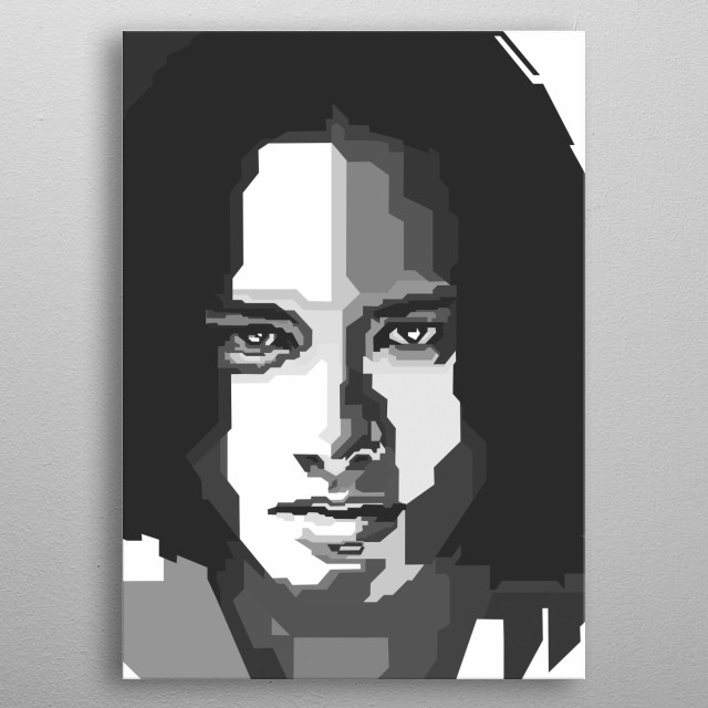 Nicholas Saputra in WPAP Grayscale art metal poster