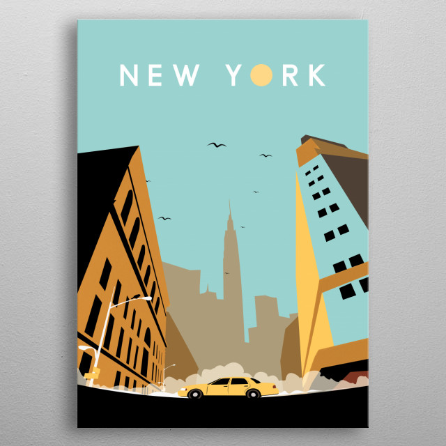 inspired by the never sleep city of New york and it's busy in every morning. metal poster