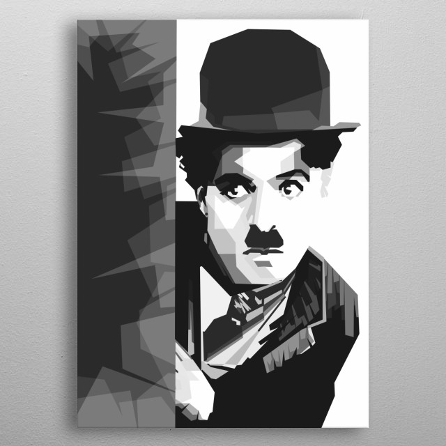 Charlie Chaplin in WPAP Grayscale Style metal poster