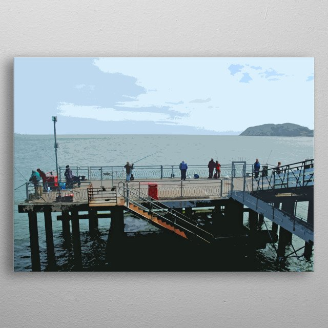 People fishing from the pier at Llandudno in North Wales. metal poster