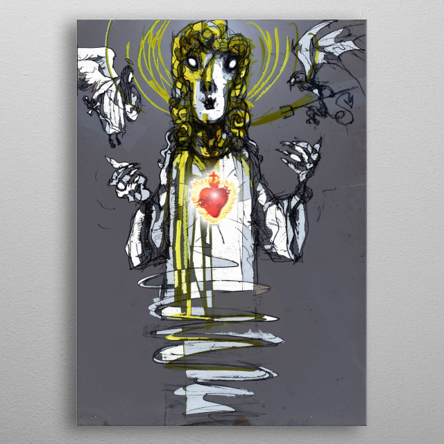 The God taken from my graphic novel about shapeshifting priest metal poster