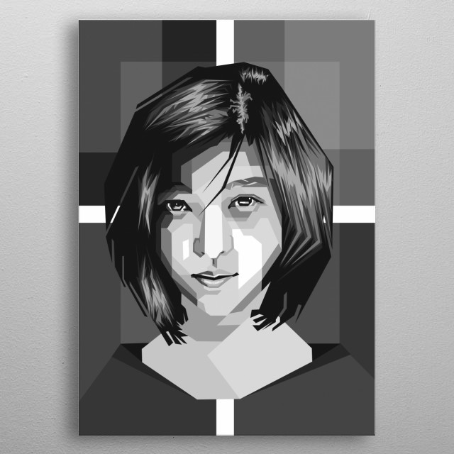 Asian Female in WPAP Grayscale metal poster