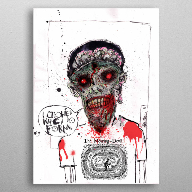 zombie inspired with humor text metal poster