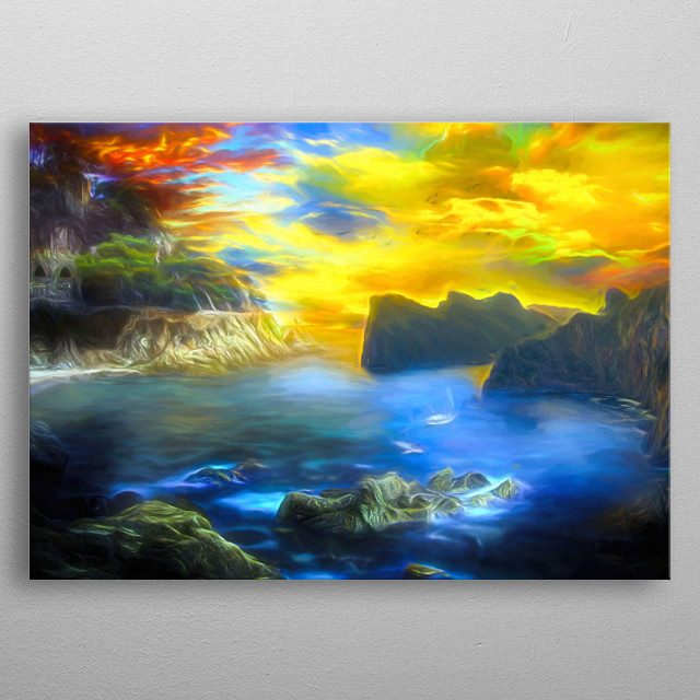 Located on the ocean, quiet and beautiful. Sunset completes this idyll metal poster