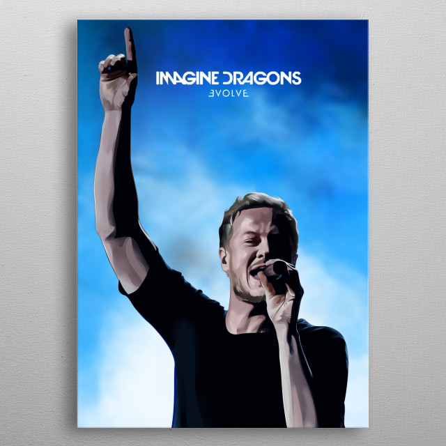 It's a Dan Reynold ( Imagine Dragon Vocalist ) Poster on Vector Pixel ( Vexel Art ) metal poster