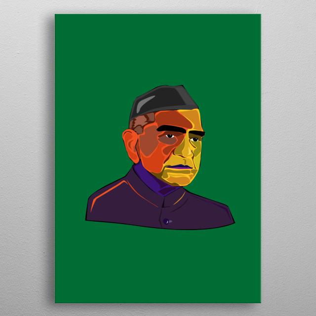 Fakhruddin Ali Ahmed former Indian President. metal poster