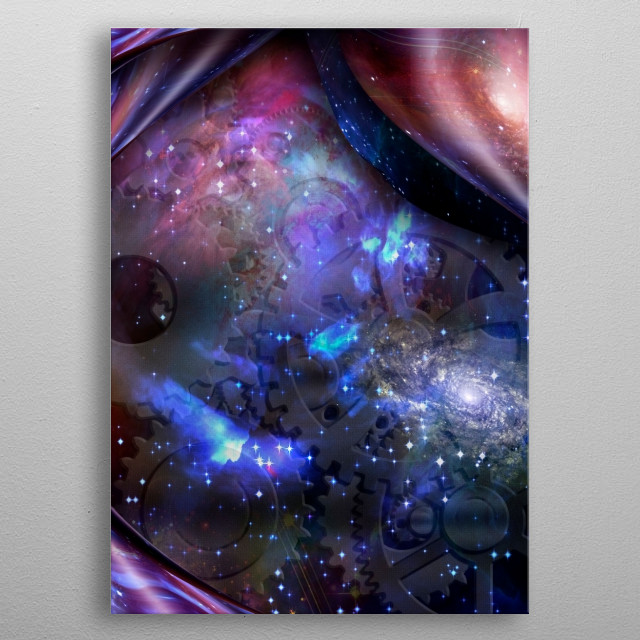 Surrealism. Vivid universe, gears on a background. Warped space metal poster