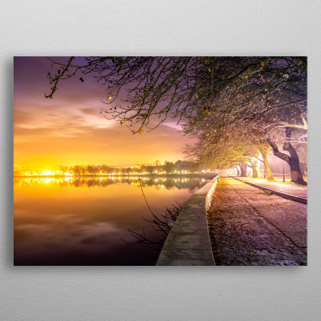 Night by the lake of Ioannina metal poster